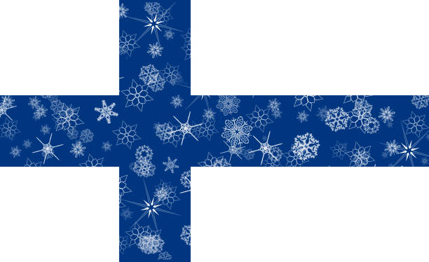 finland winter snowflake flag - finnish flag stock illustrations, clip art, cartoons, & icons
