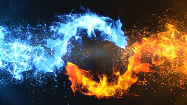 """illustrazioni stock, clip art, cartoni animati e icone di tendenza di fire and ice concept design with spark. 3d illustration.""""t""""n - ice on fire"""