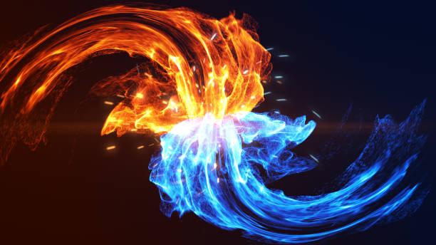 illustrazioni stock, clip art, cartoni animati e icone di tendenza di fire and ice - ice on fire