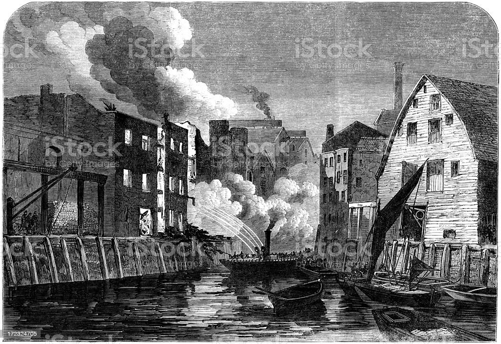 Fire at Dockhead Bermondsey, London (illustration) royalty-free fire at dockhead bermondsey london stock vector art & more images of alley