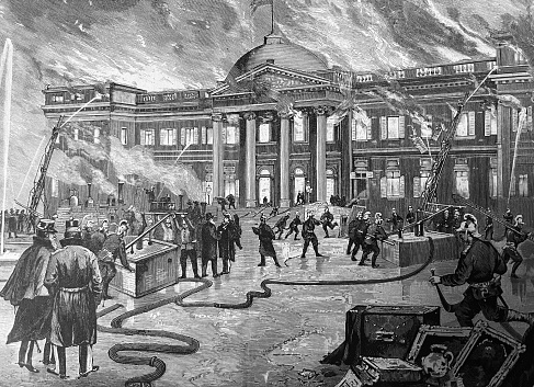 Fire at the royal summer residence Laeken near Brussels