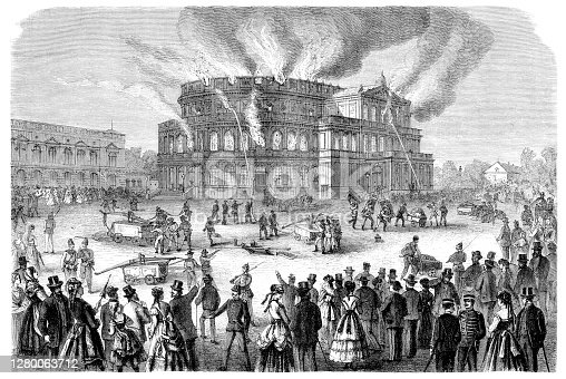 Fire at the Royal Theatre in Dresden on 21st September 1869 Original edition from my own archives Source : Gartenlaube 1869