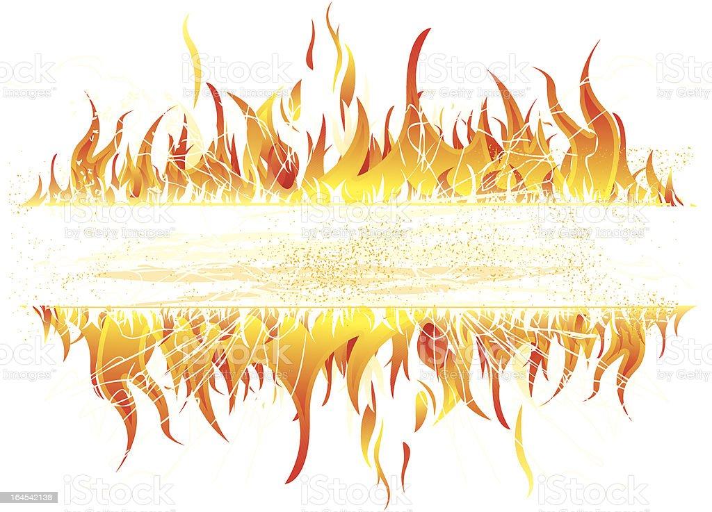 Fire banner vector art illustration