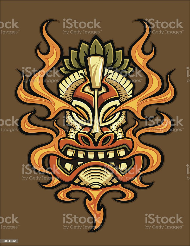 Fire Breathing Tiki Head royalty-free fire breathing tiki head stock vector art & more images of color image