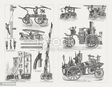 Fire Brigade and equipment, wood engravings, published in 1897