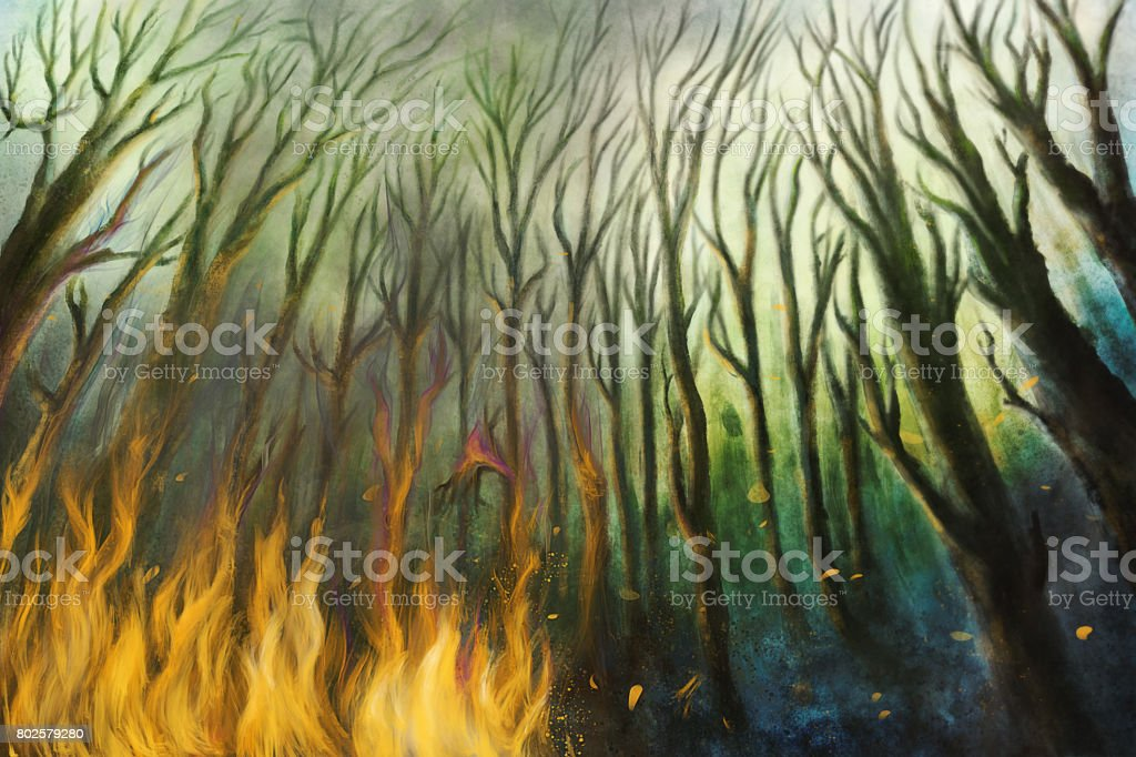 Fire burning in a forest with lot of smoke - Digital Painting vector art illustration