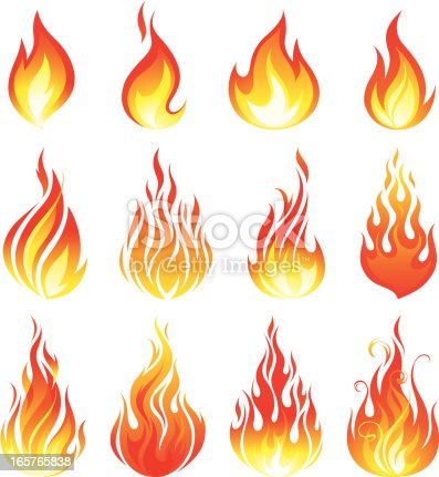 A set of various fire elements