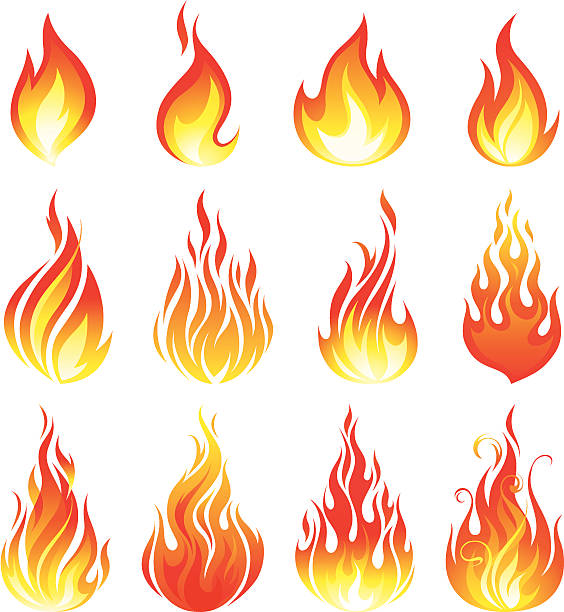 Fire collection A set of various fire elements flame stock illustrations