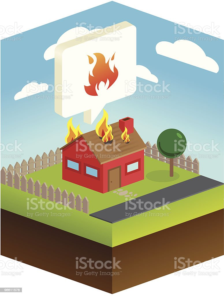Огонь чрезвычайных ситуациях - Векторная графика Аварии и катастрофы роялти-фри