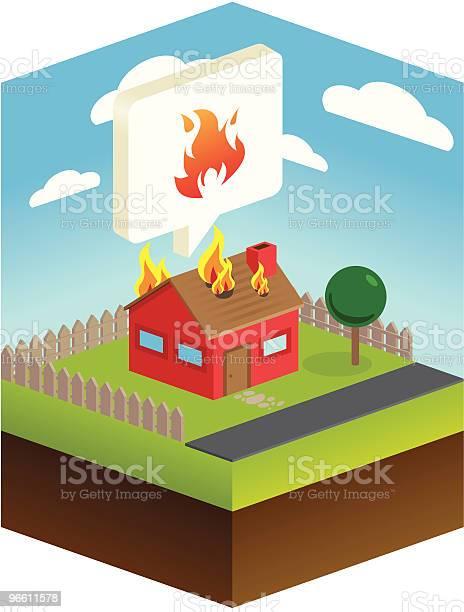 Огонь Чрезвычайных Ситуациях — стоковая векторная графика и другие изображения на тему Аварии и катастрофы