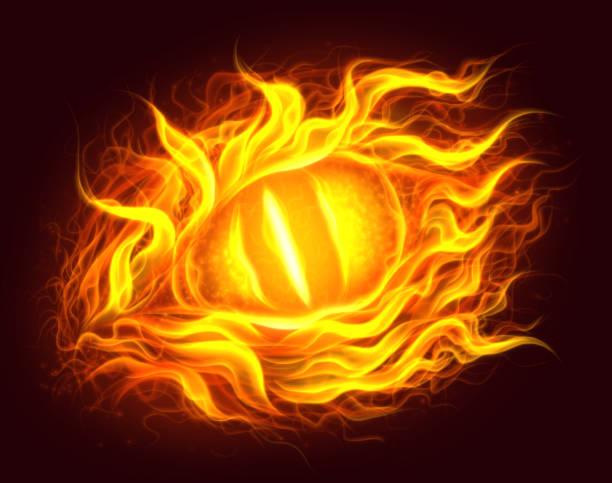 fire eye - dragon eye stock illustrations, clip art, cartoons, & icons