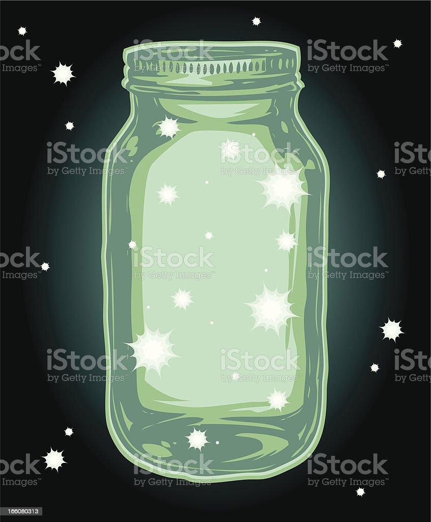 fire flys in a jar vector art illustration