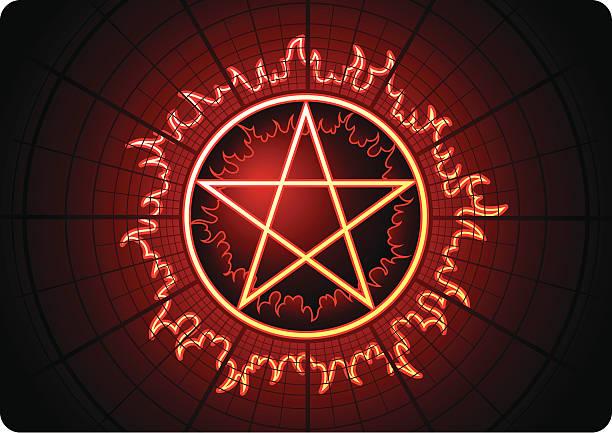 fire pentagram mit kreisförmigen grid - kultfilme stock-grafiken, -clipart, -cartoons und -symbole