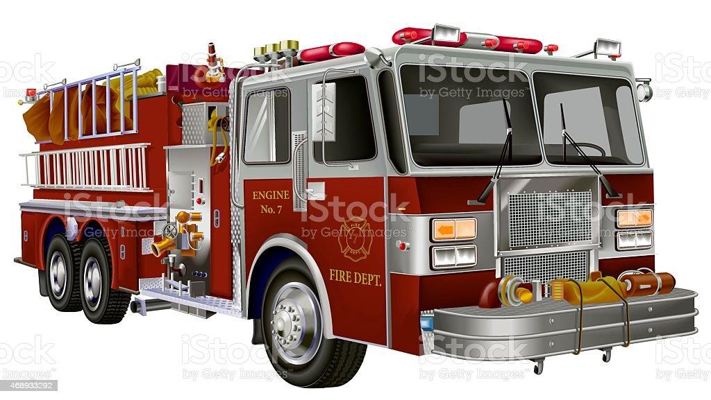 fire truck_colour vector art illustration