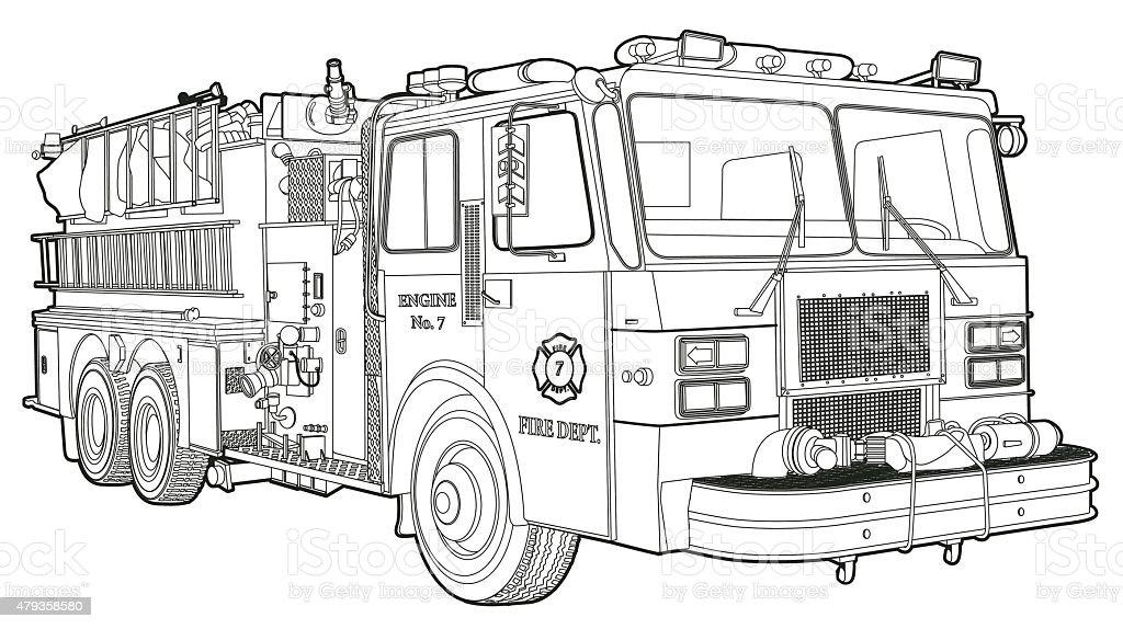 Fire Truck_line vector art illustration