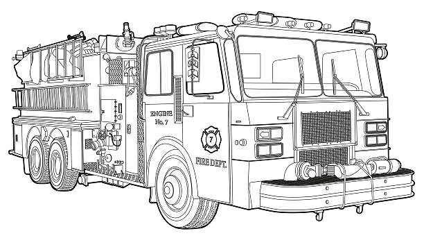 Fire Truck_line line drawing of a typical fire truck fire engine stock illustrations