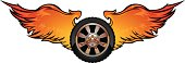 car tire with fire wings