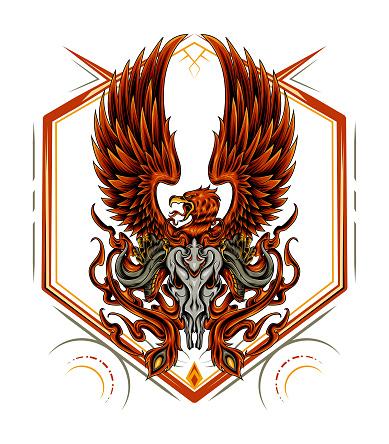 Firebird with bull skull illustration design template