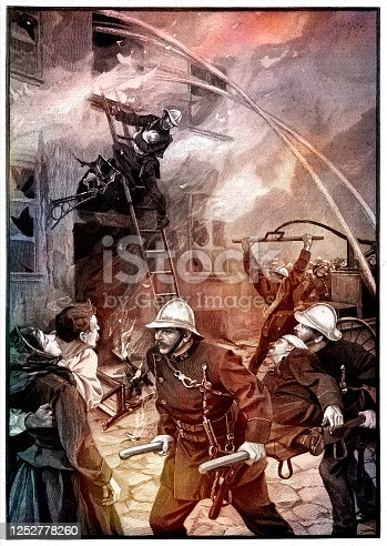 Firefighter attacking fire in city of Durlach Germany 1896