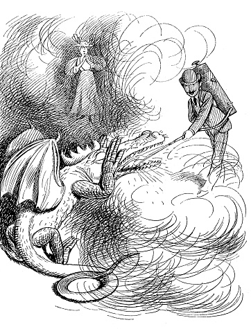 Firefighter extinguishes a fire from a dragon's mouth - 1896