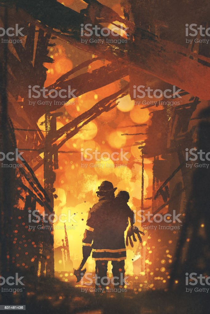 firefighter holding child standing in house on fire vector art illustration