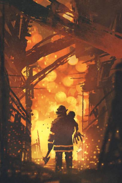 firefighter holding child standing in house on fire vector art illustration