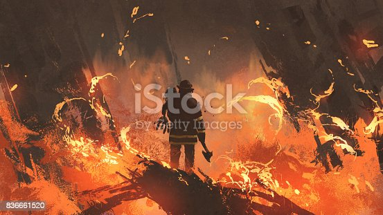 firefighter holding girl standing in burning buildings