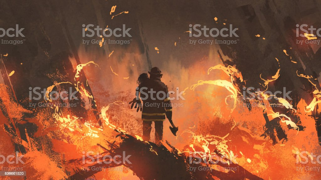 firefighter holding girl standing in burning buildings vector art illustration