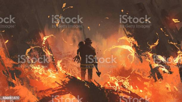 Firefighter Holding Girl Standing In Burning Buildings Stock Illustration - Download Image Now