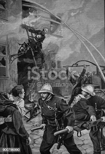 Firefighting scene by house fire - 1896
