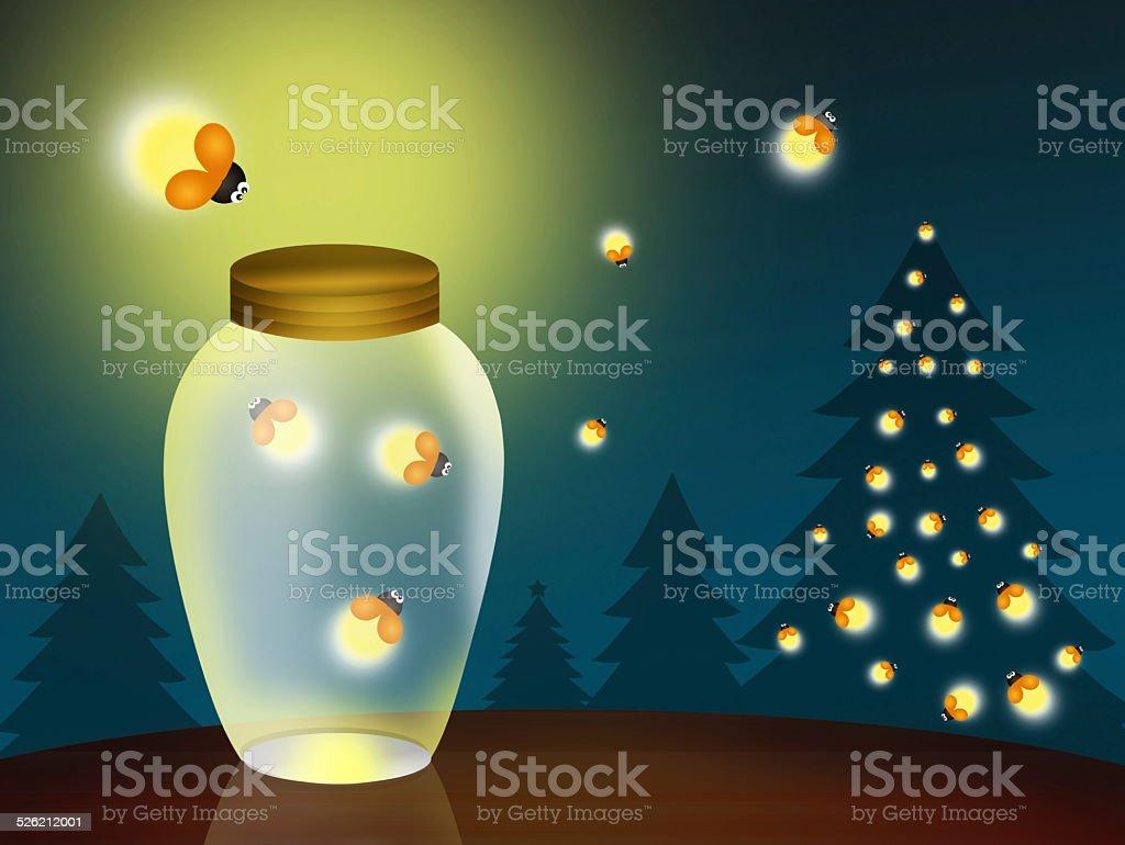 fireflies at Christmas vector art illustration