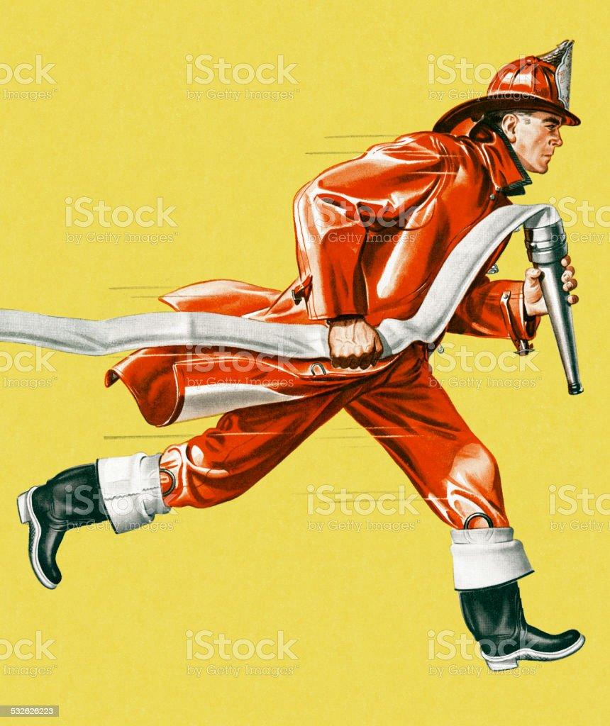 Fireman Running With Hose vector art illustration