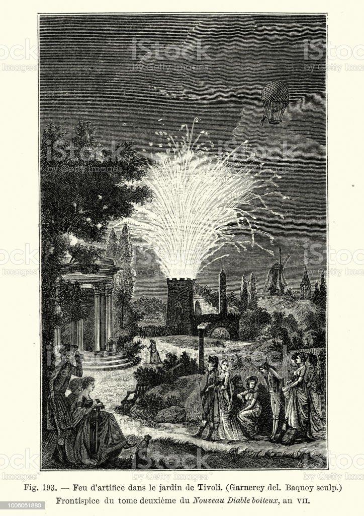 firework display at the jardin de tivoli paris early 19th century royalty free - Jardins De Tivoli