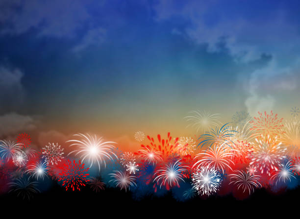 fireworks at twilight background design for 4 july independence day or other celebration - fourth of july stock illustrations