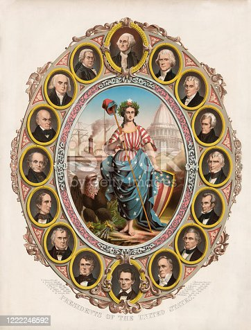 Vintage illustration features the portraits of the first sixteen presidents of the United States, surrounding Columbia (feminized version of Columbus) who is the goddess of liberty and the personification of America. Presidents include George Washington to Abraham Lincoln.
