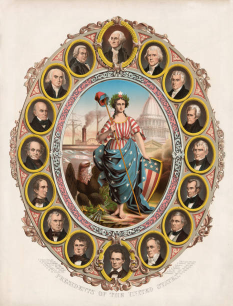 First 16 American Presidents Vintage illustration features the portraits of the first sixteen presidents of the United States, surrounding Columbia (feminized version of Columbus) who is the goddess of liberty and the personification of America. Presidents include George Washington to Abraham Lincoln. us president stock illustrations