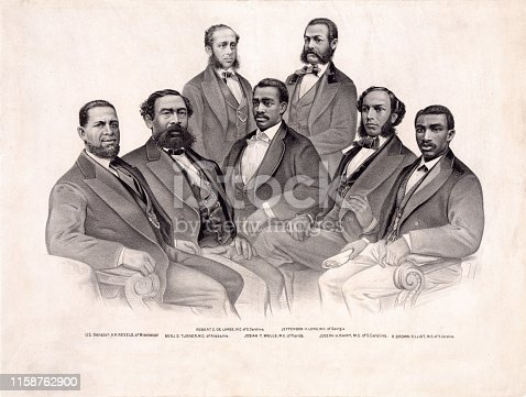 Vintage portrait features the first African-American Senators and Representatives in the 41st and 42nd Congress of the United States, 1869-1873.