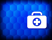 First aid kit bag icon hexagon creative abstract blue background seamless hexagonal pattern grid illustration design