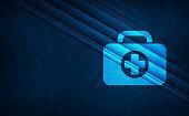 First aid kit bag icon natural sky light abstract dark blue background stripes line motion pattern illustration design