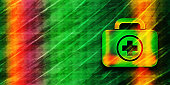 First aid kit icon abstract premium green banner background colorful bright pattern texture illustration