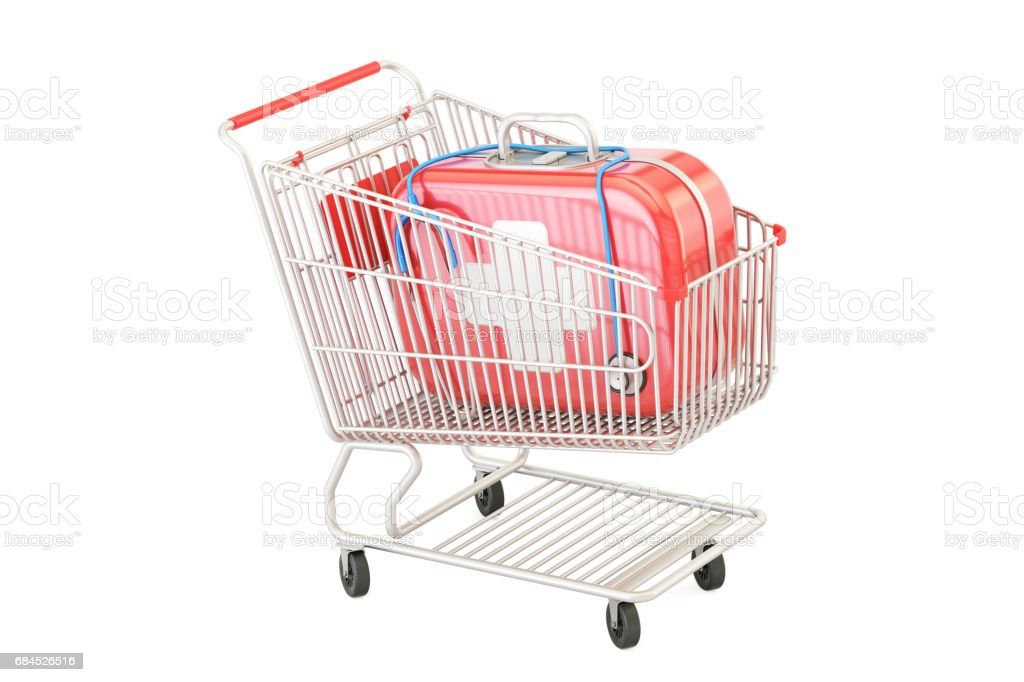 First aid kit in the shopping cart, 3D rendering vector art illustration