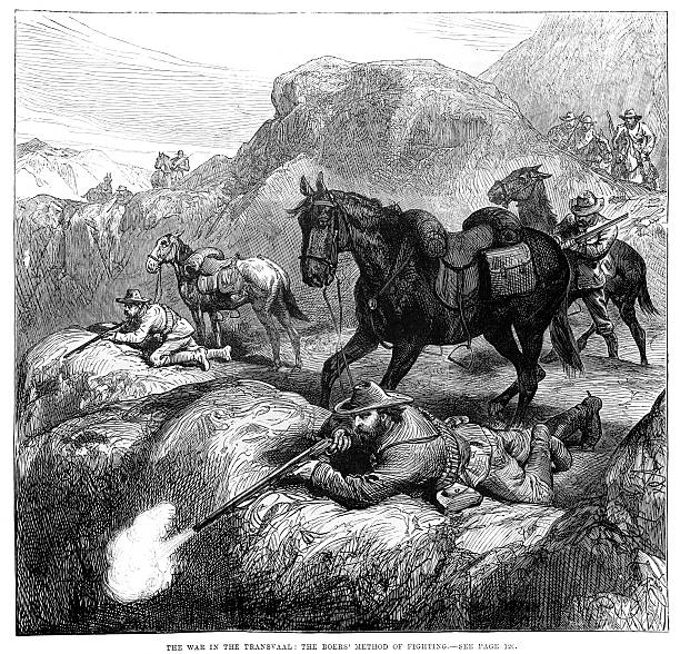 First Boer War Vintage engraving of a scene from the First Boer War, showing Boer marksmen sniping from a hill top, Transvaal, South Africa 1881 transvaal province stock illustrations