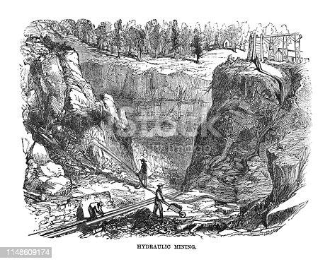 istock First Century United States illustrations - 1873 - Hydraulic Mining 1148609174