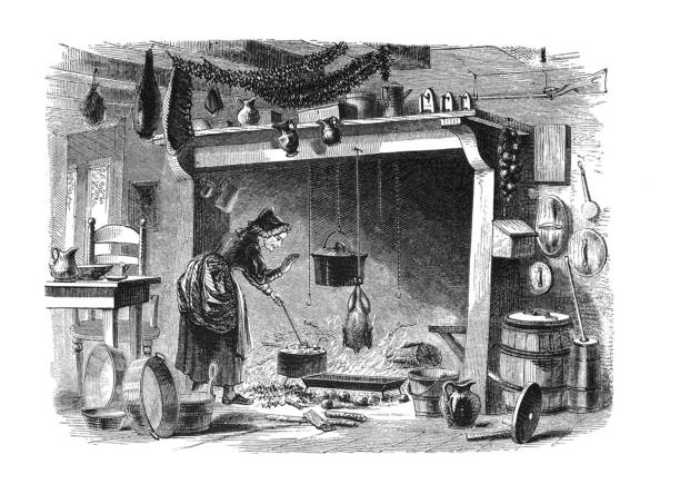 first century united states illustrations - 1873 - kitchen of 1770 - woman cooking stock illustrations