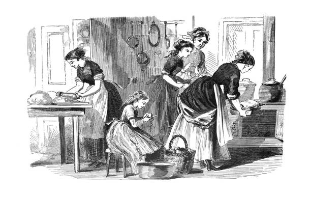 First Century United States illustrations - 1873 - Kitchen of 1870 From First Century of National Existence; The United States - 1873 cooking black and white stock illustrations
