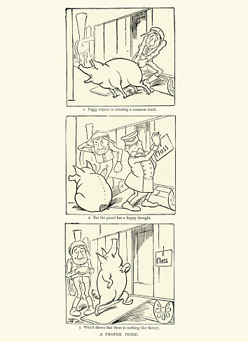 Vintage illustration of First class pig, Victorian comedy cartoon, 19th Century