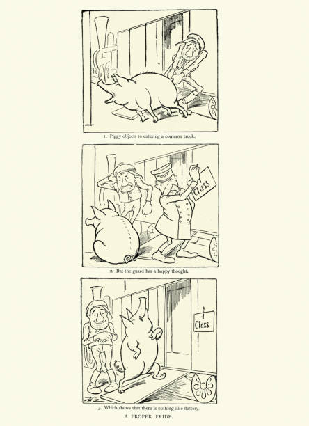 First class pig, Victorian comedy cartoon vector art illustration