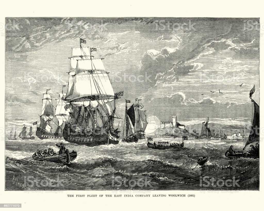First fleet of the East India Company leaving Woolwich, 1601 vector art illustration