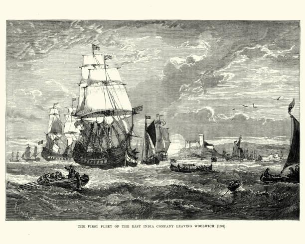stockillustraties, clipart, cartoons en iconen met eerste vloot van de east india company verlaten woolwich, 1601 - oost