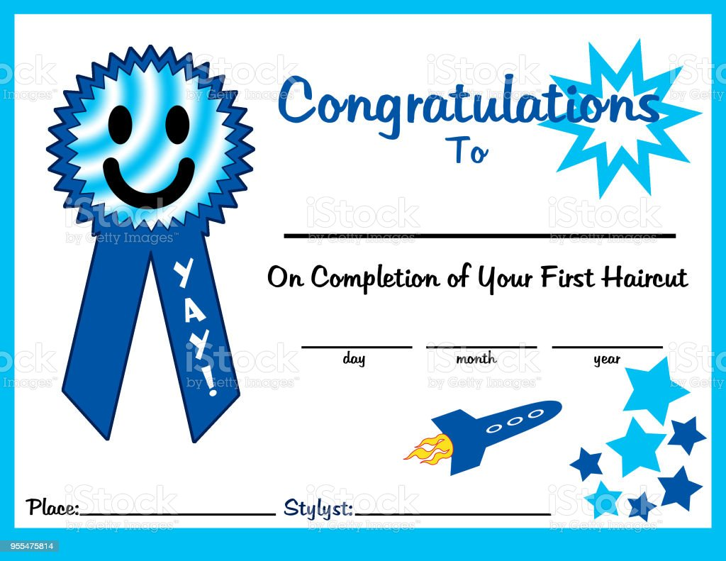 first haircut certificate 11 x 85 boy for print royalty free